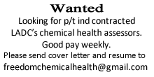 Looking for p/t ind contracted LADC's chemical health assessors.