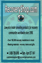 Recovery Shop, low-price leader providing products for recovery communities worldwide since 1998.  Over 150,000 medallions in stock.  1-888-798-3496.  recoveryshop.com