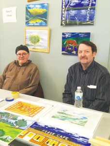 Avivo ArtWorks Collective Members Peter F. Hinze and Sjolin selling at a recent ArtWorks Winter Market